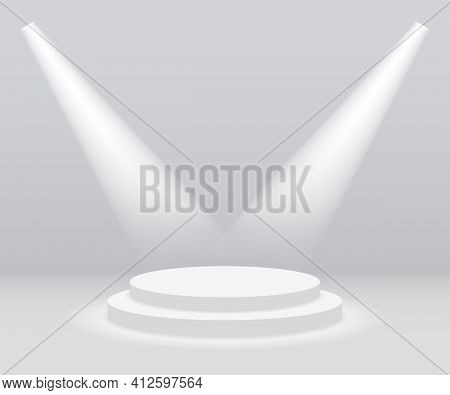 Podium With Spotlight. White Stage With Light. Round Pedestal For Award. Empty Platform On Floor Wit