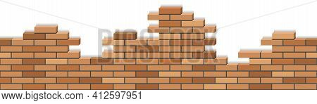 Broken Brick Wall, 3d Isometric Masonry Texture. Seamless Brick Stone Wall For Cartoon Or Game Backg