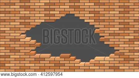 Broken Brick Wall With Hole. 3d Isometric View. Brick Stone Wall Of Building Or House Destroyed. Fla