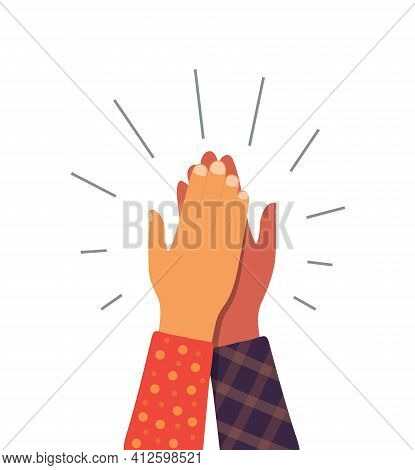 High Five Hand. Give 5 Friend. Team Icon. Friendship And Partner Between People. Together In Busines