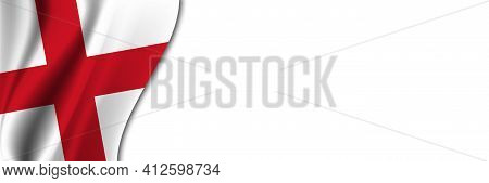 England Flag On White Background. White Background With Place For Text Near The Flag Of England.