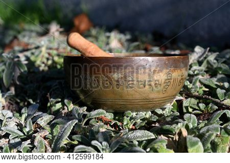 Tibetan Singing Bowl In Nature. Translation Of Mantra Transform Your Impure Body, Speech And Mind
