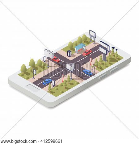 Isometric Concept With 3d Smartphone And Advertising Constructions In City Streets Vector Illustrati