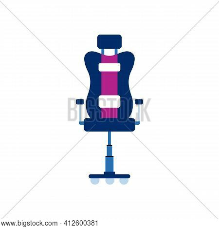 Computer Gamer Chair With High Soft Back, Cartoon Vector Illustration Isolated.