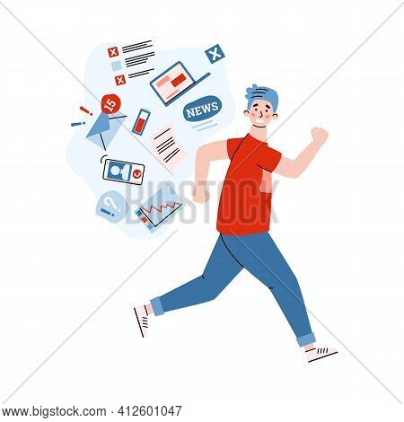 Man Trying To Run Of Worrying News, Cartoon Vector Illustration Isolated.