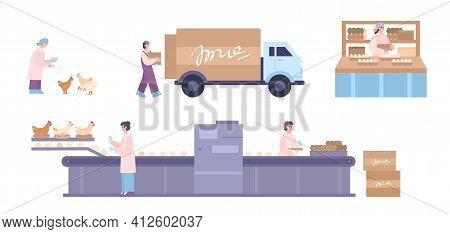 Poultry Factory Workers And Equipment Set, Cartoon Vector Illustration Isolated.