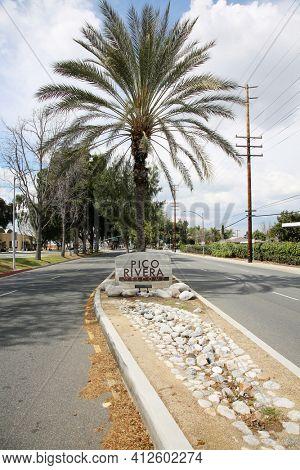 March 12, 2021 - Pico Rivera, California: Pico Rivera Welcome Sign.  Welcome sign at the entrance to Pico Rivera California. Editorial Use Only.