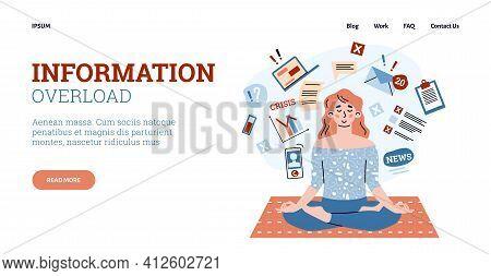 Overcoming Information Overload Concept Of Website Cartoon Vector Illustration.