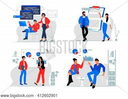Set Of Business People Characters In Various Work Scenes And Workflow, Flat Vector Illustration Isol