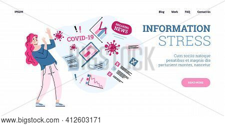 Website With Woman Suffering Of Information Stress, Cartoon Vector Illustration.