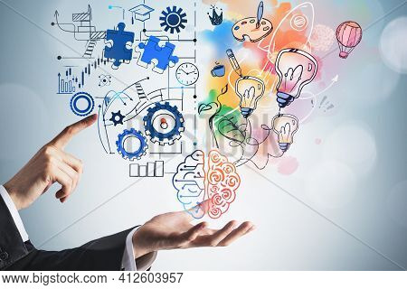 Businessman Finger Point To Brain Drawing With Creative And Analytical Thinking Icons On Blue Backgr