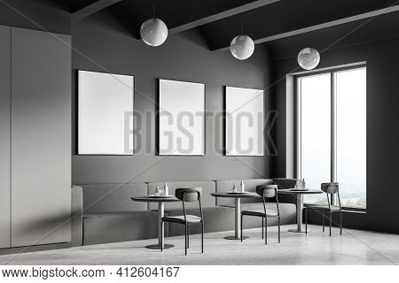 Cafeteria, Dining Room In University, Cafe With Tables And Chairs, Counter Bar Hotel. Canteen Interi