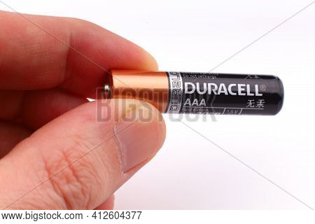 Lviv, Ukraine - March 20, 2020: Aaa Duracell Battery In The Hands