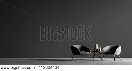 Dark Modern Room With Two Cosy Armchairs. Small Coffee Table Perfectly Fits This Place. The Floor Is