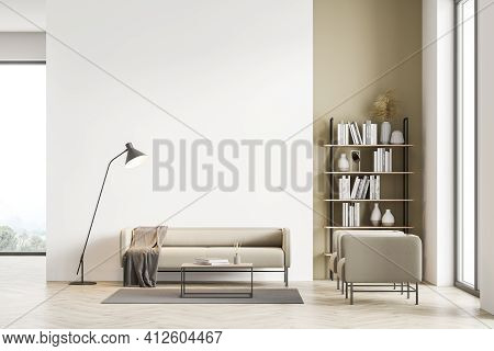 Light Modern Living Room Interior With Panoramic Windows Furnished By Beige Sofa, Armchairs, Coffee