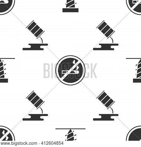 Set Rotating Drill Digging A Hole, No Smoking And Barrel Oil Leak On Seamless Pattern. Vector
