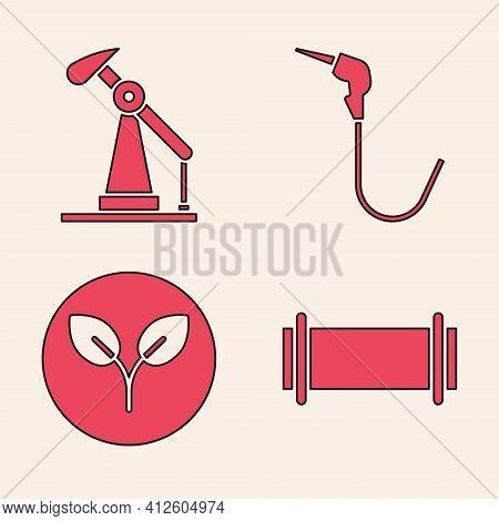 Set Industry Pipe, Oil Pump Or Pump Jack, Gasoline Pump Nozzle And Bio Fuel Icon. Vector