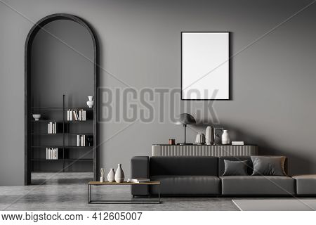 Modern Living Room Interior With Arch And Blank Poster On Wall. Black Sofa With Cushions, Coffee Tab