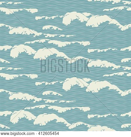 Abstract Vector Seamless Pattern With Wavy Pattern, Imitation Of The Sea Waves Or Clouds In The Sky.