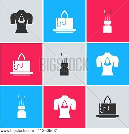 Set Massage With Aroma Oils, Aroma Candle And Diffuser Icon. Vector