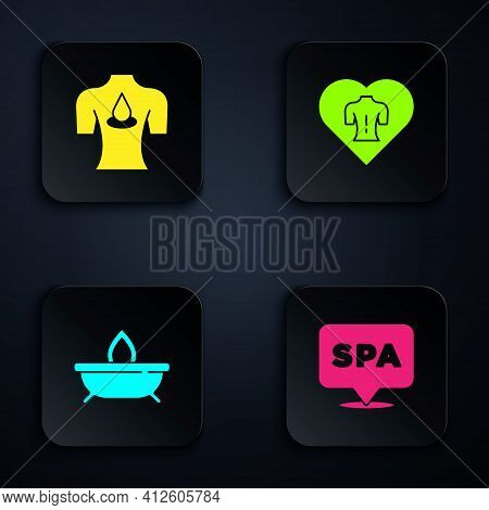 Set Spa Salon, Massage With Aroma Oils, Aroma Candle And . Black Square Button. Vector