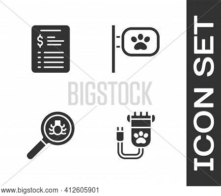 Set Hair Clipper Pet, Grooming Salon Price List, Flea Search And Pet Grooming Icon. Vector