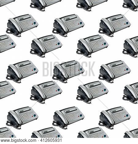 Old Office Fax Machine Shot On White Background. Seamless Pattern With Fax. Office Equipment