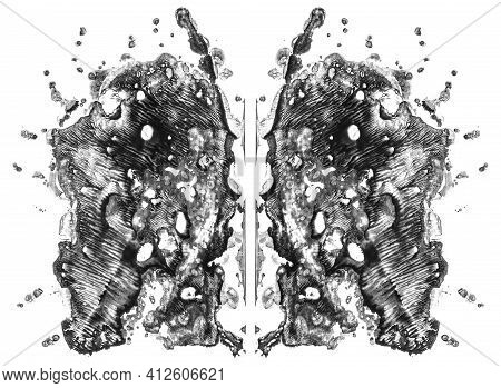 Rorschach Test Isolated On White Illustration, Random Abstract Black And White Background. Psycho Di