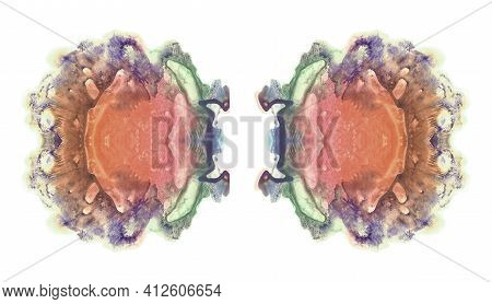 Abstract Symmetrical Spots. Orange Watercolor Painting. Isolated On White Image.
