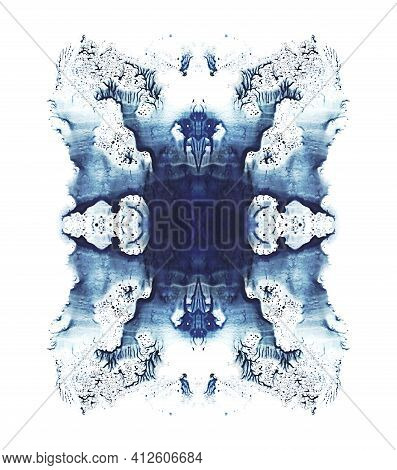 Abstract Blue Symmetric Watercolor Painting. Abstraction Background. Isolated On White Image.
