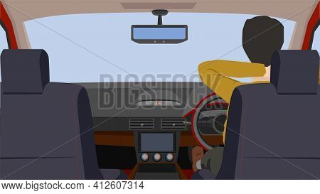 Driving Man Sat In The Car, Put His Arms Around His Neck In A Comfortable Mood. Interior View Of The
