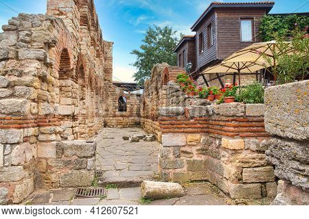 Nessebar, Bulgaria, Juny 18, 2016: The Ruins Of Ancient Buildings Nessebar Old Town.