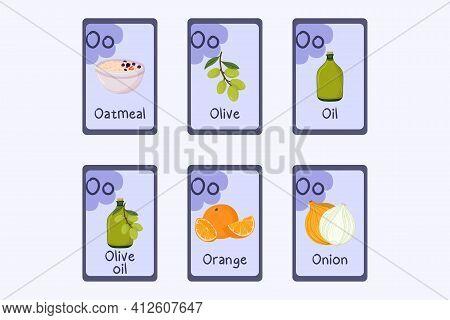 Colorful Alphabet Flashcard Letter O - Oatmeal, Olive, Oil, Orange, Onion.