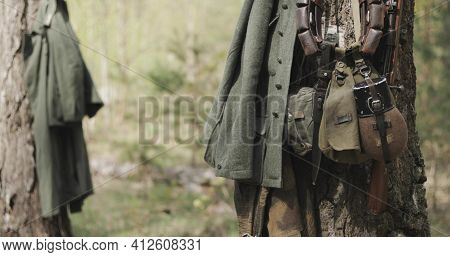 German Wehrmacht Infantry Soldiers Military Equipment Of World War Ii. Rifles, Flasks And Bag Tank F