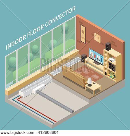 Cosy Living Room Interior With Floor Heating System Installed Indoor Convectors 3d Isometric Vector