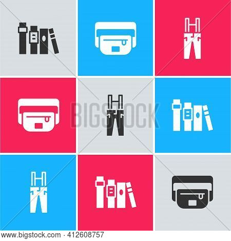 Set Book, Waist Bag Of Banana And Pants With Suspenders Icon. Vector
