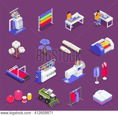 Textile Mill And Spinning Industry Isometric Icons Set Isolated Vector Illustration
