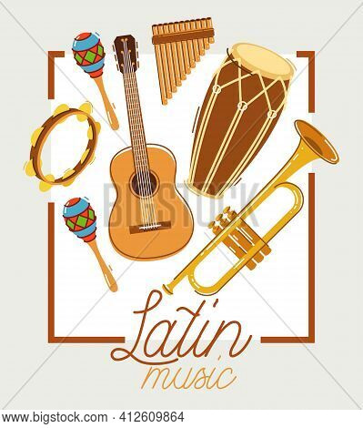 Latin Music Band Salsa Vector Flat Poster Isolated Over White Background, Live Sound Festival Concer