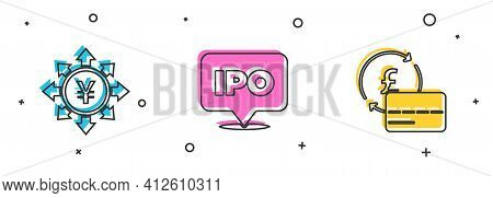 Set Coin Money With Yen, Ipo And Credit Card Icon. Vector