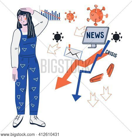 Young Woman Tired Of News Overloading, Flat Cartoon Vector Illustration Isolated On White Background