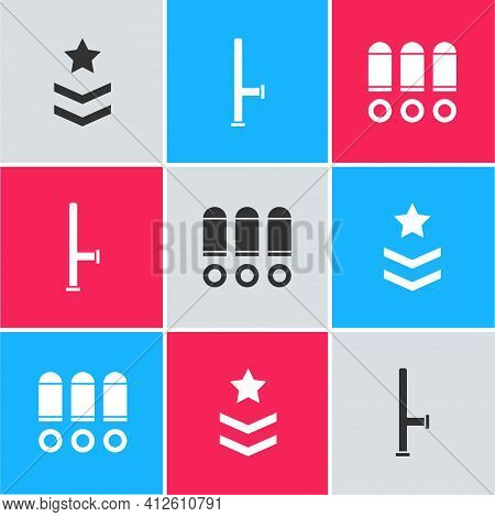 Set Military Rank, Police Rubber Baton And Bullet Icon. Vector