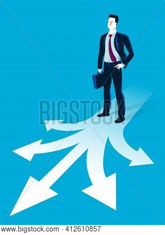 Doubting Businessman Choosing Different Directions Which Way To Go Vector Illustration, Business Man