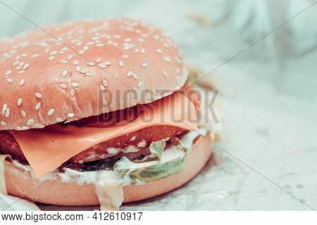 Close Up View Of Fresh Tasty Beef Burger On Table