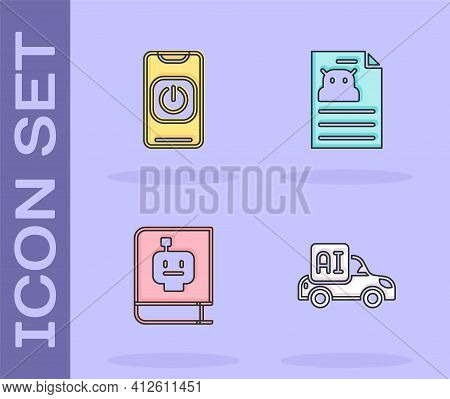 Set Autonomous Smart Car, Turn Off Robot From Phone, User Manual And Technical Specification Icon. V