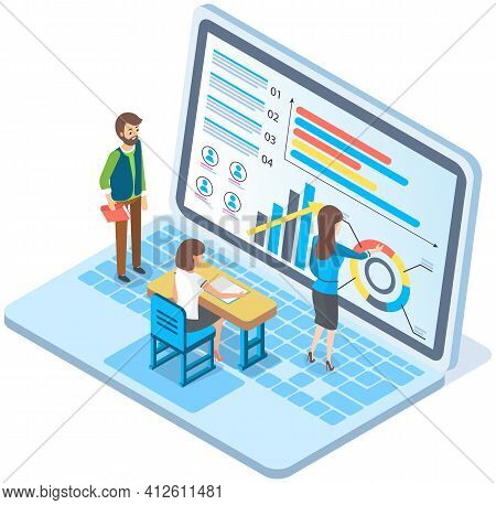 Expert Worker Evaluate Statistics People Looking And Discussing About Business Infographic On Screen