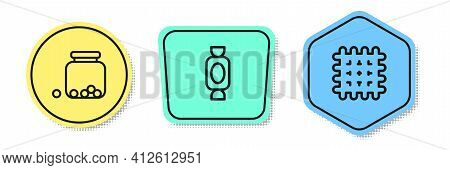 Set Line Glass Jar With Candies Inside, Candy And Cracker Biscuit. Colored Shapes. Vector
