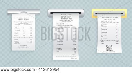 Payment Check Paper Document Poked Out Of The Cash Register. Buying Financial Invoice Bill