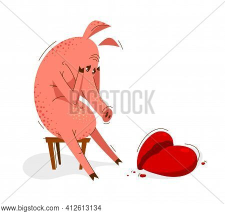 Funny Cartoon Pig Upset And Depressed Sitting And Crying Because Of Broken Heart Vector Illustration