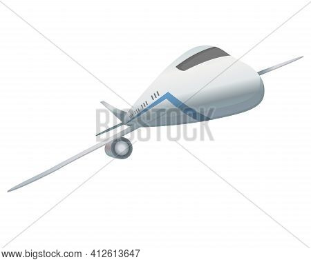 Flying Airplane Or Airliner. Aircraft Transport. Passenger Flight Jet Airplane, Aviation Vehicle. Ci