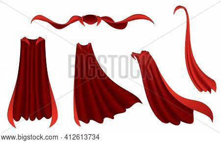 Superhero Red Cape. Scarlet Fabric Silk Cloak In Different Position, Front And Side View. Carnival M